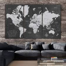 World Map Wall Art Us Map Art Holy Cow Canvas