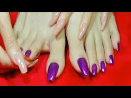 full magenta long natural toenails