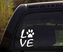 Love Decal With Dog Paw Print Vinyl Decal Sticker For Car Etsy