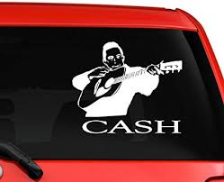 Amazon Com La Decal Johnny Cash Nice Silhouette Car Laptop Mac Decal Sticker 6 White Automotive
