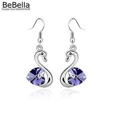 swan crystal pendant earrings