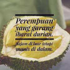 perempuan yang garang ni ibarat durian tajam di luar tetapi manis