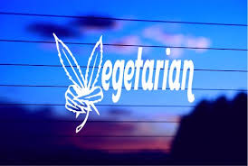 Vegetarian Pot Leaf Car Decal Sticker