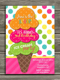 Ice Cream Birthday Invitation Invitaciones Para Fiestas