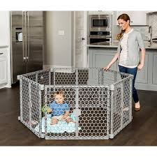 Regalo Versatile Play Space 192 Inch Plastic Super Wide Portable Baby Gate And Play Yard 4 In 1 Bonus Kit Includes 4 Pack Of Wall Mounts Indoor And Outdoor Play Space Cool Gray Walmart Com