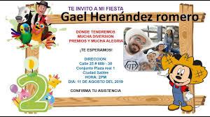 Invitacion Cumpleanos De Gael Hernandez Romero Youtube