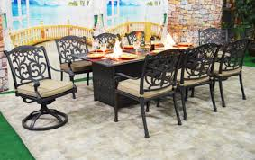 patio dining table with built in fire