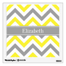 Grey And Yellow Wall Decals Stickers Zazzle