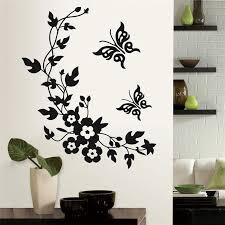 Black Classic Butterfly Flower Home Wedding Decoration Wall Stickers For Living Room Kitchen Bathroom Decorative Flora Mural Art Sticker Seal Sticker Tanksticker Wall Decor Aliexpress