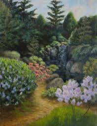japanese water garden painting by lisa