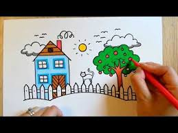 How To Draw A House Behind A Fence Fun Little Art For Kids On Youtube How To Draw A House Behind A Fence Basic Drawing For Kids Drawing For Kids Drawings