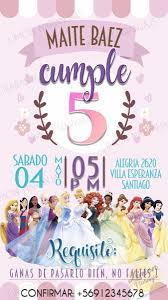 Invitacion Digital Cumpleanos Princesas Disney 2 000 En