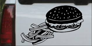 Cheeseburger And French Fries Car Or Truck Window Decal Sticker Or Wall Art Decalsrock
