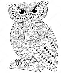 Decorative Owl Adult Anti Stress Coloring Page Stock Vector