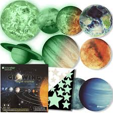 Amazon Com Glow In The Dark Stars And Planets Bright Solar System Wall Stickers 9 Glowing Ceiling Decals For Kids Bedroom Any Room Shining Space Decoration Birthday Christmas Gift For Boys And Girls Kitchen