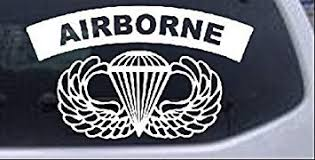Amazon Com Rad Dezigns Airborne Banner With Wings Military Car Or Truck Window Laptop Decal Sticker White 8in X 4 8in Automotive