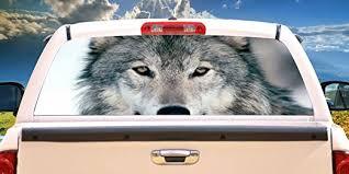 Amazon Com Signmission Wolf 1 Rear Window Graphic Back Truck Decal Suv View Thru Vinyl Home Kitchen