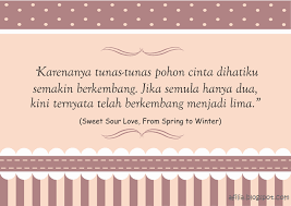 "quote novel ""sweet sour love from spring to winter"" bikin baper"