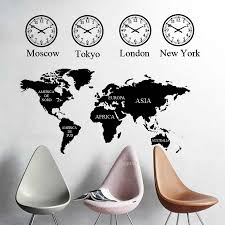 Large World Map Wall Decal Office Room Wall Decal Clock Art Mural For Home Bedroom Living Room Decoration Decor Map Wallpaper Wall Stickers Aliexpress