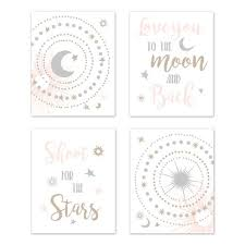 Blush Pink Gold Grey And White Star And Moon Wall Art Prints Room Decor For Baby