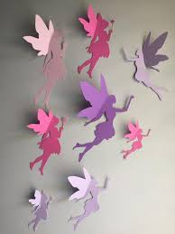 8 Paper Fairy Wall Art 3d Fairy Wall Decal Whimsical Room Etsy