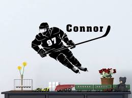 Hockey Player With Personalized Name And Number Custom Vinyl Decal S Decals By Droids