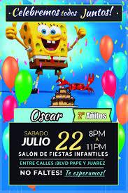 Invitaciones Infantiles Bob Esponja Listas Para Imprimir 39 00 En Mercado Libre