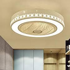 Litfad Modern Dimmable Ceiling Fan With Light Kids Room Ceiling Fan Lamp 21 5 Wide Hidden Blades