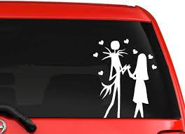 Amazon Com Jack And Sally Skellington Nightmare Before Christmas Halloween Fantasy Car Truck Window Laptop Decal Sticker 6 Inches White Automotive