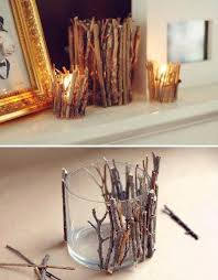 hot glue twigs around glass tumbler for