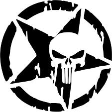 Punisher Skull Star Decal Sticker Punisher Skull Star Decal