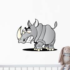 Cartoon Rhino Wall Decal Wallmonkeys Com