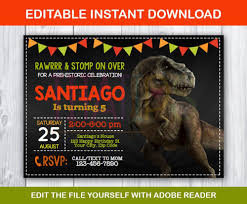 Editable Jurassic Invitation Dinosaur Invitation Etsy