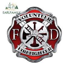 Earlfamily 12cm X 12cm Firefighter Volunteer Cross Car Sticker Vinyl Decal Maltese Fire Window Car Styling Decoration Car Stickers Aliexpress