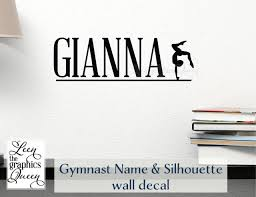 Gymnast Personalized Name Vinyl Wall Decal