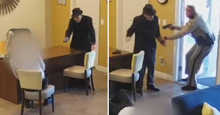 "نتيجة بحث الصور عن NEW: Las Vegas police released video showing a 93-year-old resident allegedly angry over water damage in his unit shooting his apartment manager twice before authorities took him into custody; the victim's injuries were not life threatening."""