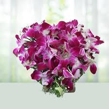 send 20 purple orchids bouquet