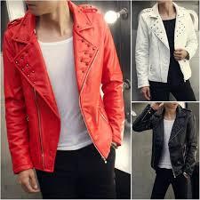 fashion studded male biker jacket red