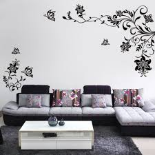Butterfly Vine Flower Wall Decals Vinyl Art Stickers Living Room Mural Decor