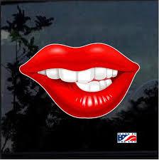 Biting Lip Lips Full Color Decal Sticker Custom Sticker Shop