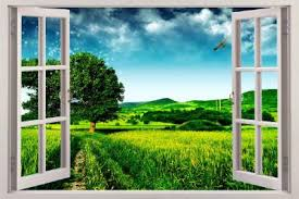 Green Meadow 3d Window View Decal Wall Sticker Decor Art Mural Fantasy Nature Ebay