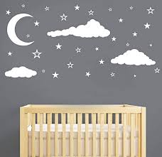 Amazon Com Moon Stars And Clouds Wall Decals Kids Wall Decoration Nursery Wall Decal Wall Decal For Nursery Vinyl Wall Stickers For Children Baby Kids Boys Girls Bedroom Y08 White Home Kitchen