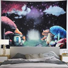 Amazon Com Psychedelic Mushroom Tapestry Misty Forest Trees Tapestry Magic Galaxy Tapestry Wall Hanging Fantasy Trippy Landscape Tapestry For Bedroom Kids Room Everything Else