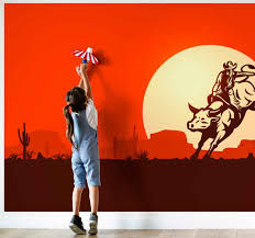 Cowboy Riding A Bull Animal Wall Mural Tenstickers