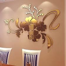 3d Diy Art Plum Flower Wall Mirror Stickers Self Adhesive Acrylic Wallpaper Modern Mirror Wall Decals Mirror Wall Decal Wall Decalsmirror Sticker Aliexpress