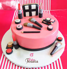 makeup kit on pink cake customized