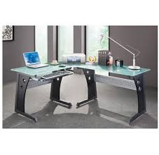 glass top corner computer desk l shaped