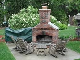 brick outdoor fire pit with concrete