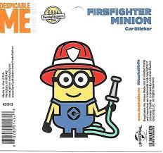 Despicable Me Firefighter Minion Figure Peel Off Car Sticker Decal Starbase Atlanta