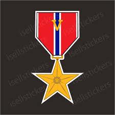 Bronze Medal V Device Valor Bumper Sticker Vinyl Window Decal